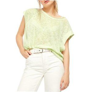 Free People Halo Striped Tee Neon Lime Size M